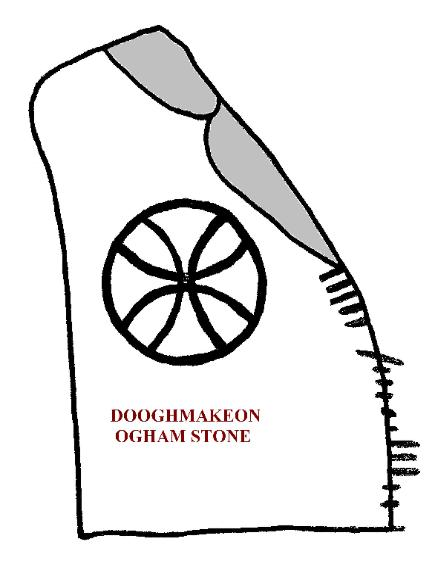 DRAWING OF DOOGHMAKEON OGHAM STONE, COUNTY MAYO